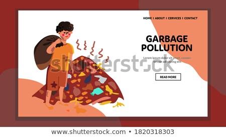 Charakter śmieci człowiek ekologia zanieczyszczenia pop art Zdjęcia stock © studiostoks
