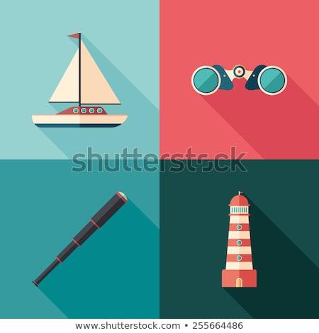 Padrão pequeno marinha símbolos sombras decorativo Foto stock © artjazz