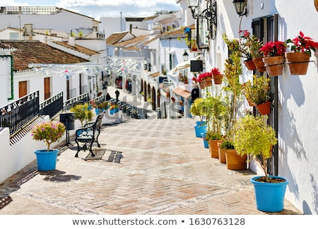 Idyllic scene picturesque street small white-washed village of M Stock photo © amok