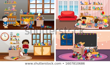 Four scenes with children playing in the rooms Stock photo © bluering
