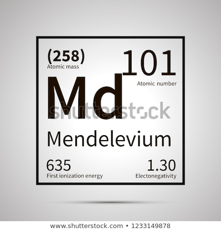 Mendelevium chemical element with first ionization energy, atomic mass and electronegativity values  Stock photo © evgeny89