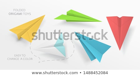 Green origami paper folded airplane 3D Stock photo © djmilic