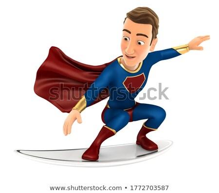 3d superhero surfing on a surfboard Stock photo © 3dmask