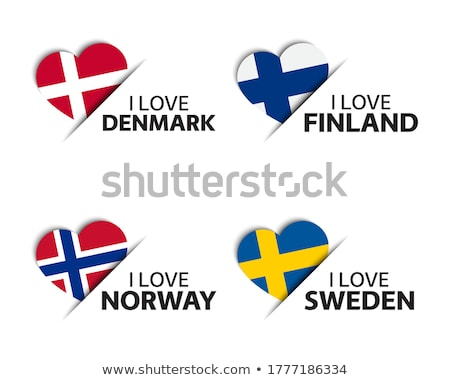 Set of four Danish, Finnish, Norwegian and Swedish heart shaped stickers. Made in Denmark, Finland,  Stock photo © kurkalukas
