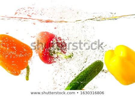 スプラッシュ 黄色 ピーマン 抽象的な ディナー ストックフォト © Ansonstock