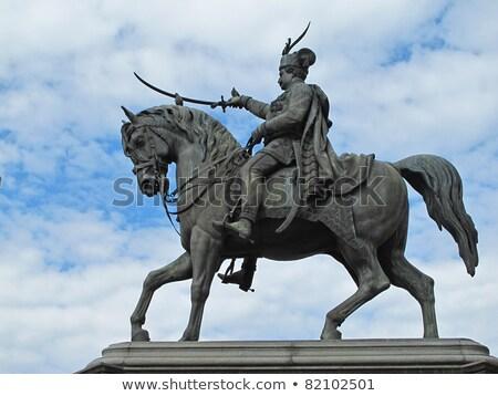 статуя основной квадратный Загреб Хорватия лошади Сток-фото © gsermek