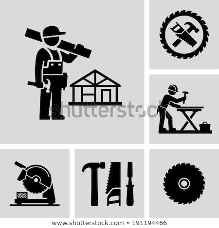Bois vu construction fond travailleur Photo stock © photography33