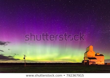 északi fények gabonatároló Saskatchewan Kanada égbolt Stock fotó © pictureguy