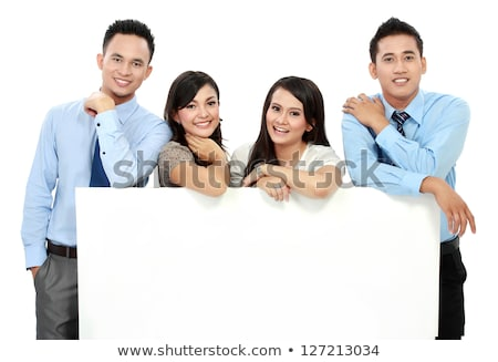 Business executive promoting big blank banner ad stock photo © stockyimages