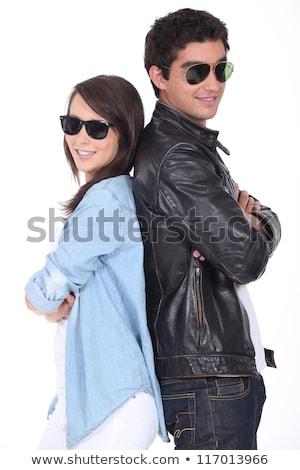 Atrás gafas de sol chaqueta de cuero negro adolescentes Foto stock © photography33