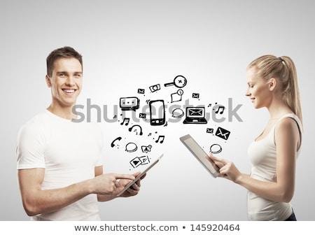 Stockfoto: Jonge · vrouw · naar · moderne · tablet · sociale · iconen