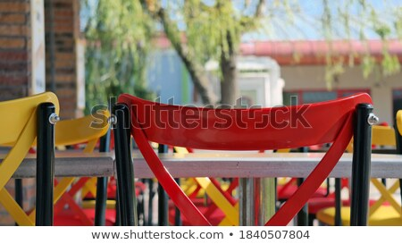 green plastic and steel chair for restaurant and cafe stock photo © shutswis
