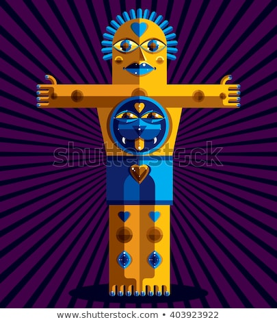 Totem Colorful Cubism Background Stock photo © ankarb