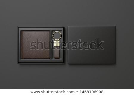 Stockfoto: Open Empty Brown Purse For Keys
