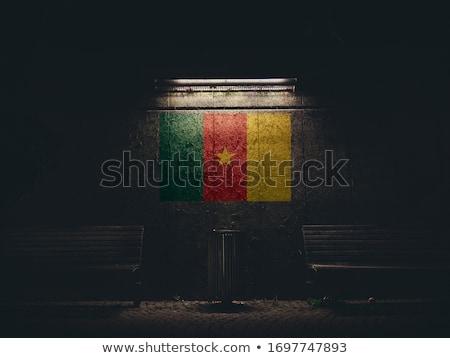 kumaş · doku · bayrak · Kamerun · mavi · yay - stok fotoğraf © maxmitzu