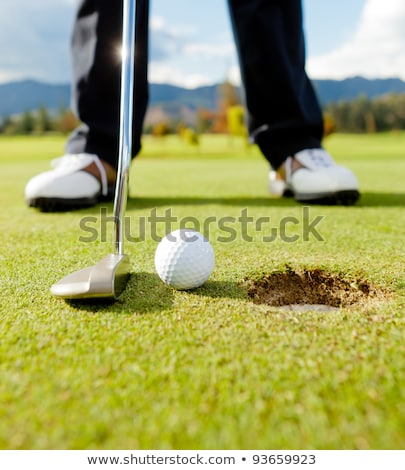 Golf player hitting the ball into the whole Stock photo © dashapetrenko