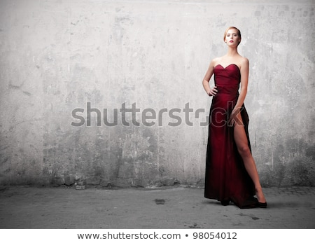 donna · nera · sera · abito · bella · donna · indossare · blu - foto d'archivio © pilgrimego