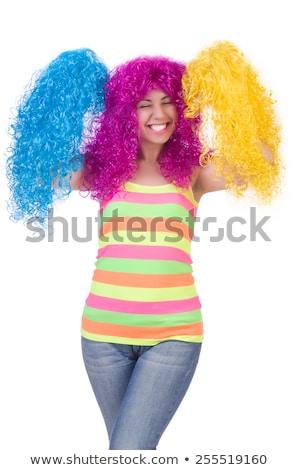 Eccitato donna colorato parrucca giovani asian Foto d'archivio © williv