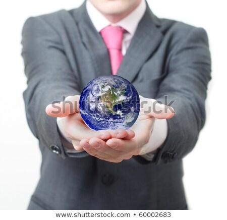 senior businessman holding globe stock photo © monkey_business