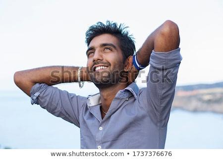 Férfi kezek levegő ünnepel tengerpart hát Stock fotó © feedough