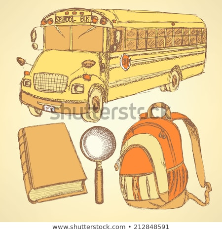 Sketch school bus,zoom,  book and notebook Stock photo © kali