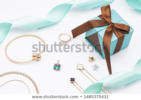 Briljant armband oorbellen donkere textiel mode Stockfoto © SRNR
