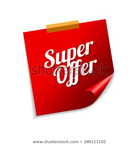 Super bieden Rood sticky notes vector icon Stockfoto © rizwanali3d
