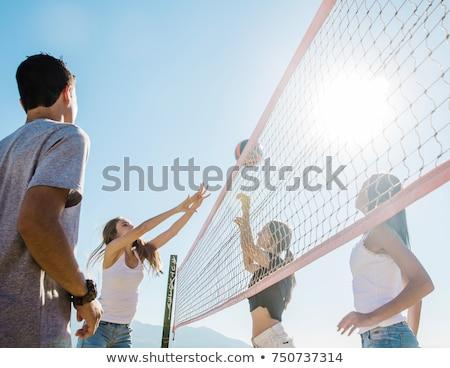 Foto stock: Mulher · jovem · bola · jogar · voleibol · praia · férias · de · verão