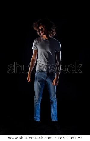 Sovány fiú visel lezser farmer póló Stock fotó © feedough