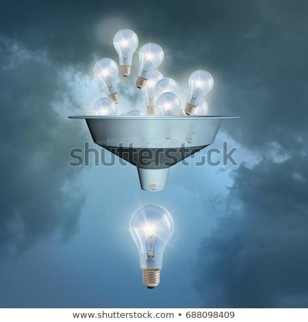 Travail d'équipe ampoules entonnoir main dessin blanche Photo stock © ivelin