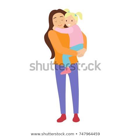 Fiatal nő fehér ruha tart baba fiatal boldog Stock fotó © dariazu