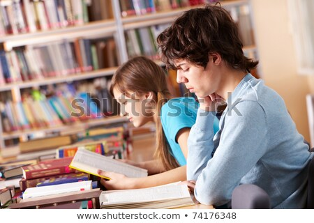 Highschool student with his female classmate Stock photo © zurijeta