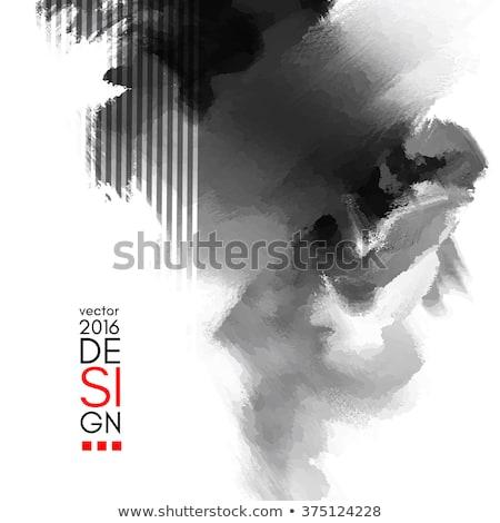 resumen · elegante · folleto · azul · tinta · pintura - foto stock © sdmix