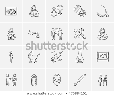 woman nursing baby sketch icon stock photo © rastudio