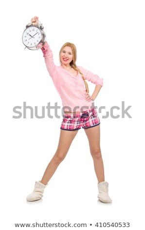 pretty blondie girl holding alarm clock isolated on white stock photo © elnur