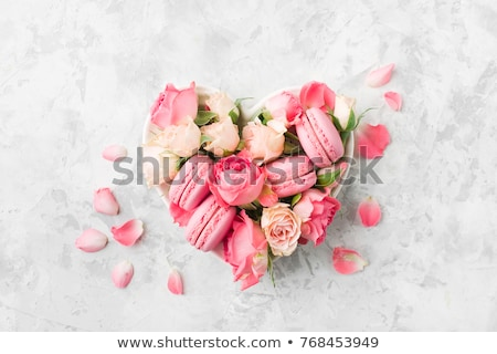 background for design with flowers and macaroons stock photo © kotenko