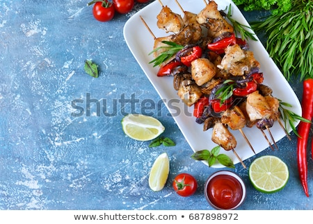 grilled chicken skewer and salad Stock photo © M-studio