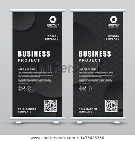 elegant pruple standee banner roll up design template Stock photo © SArts