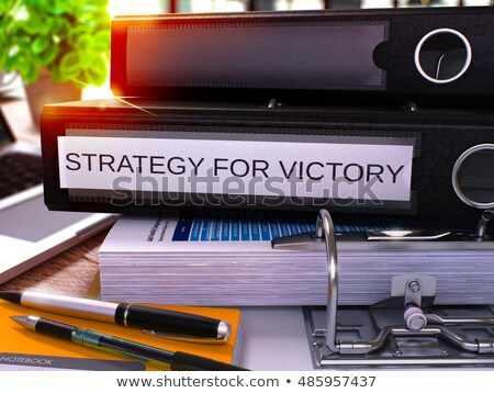 Black Office Folder with Inscription Strategy for Victory. 3D. Stock photo © tashatuvango