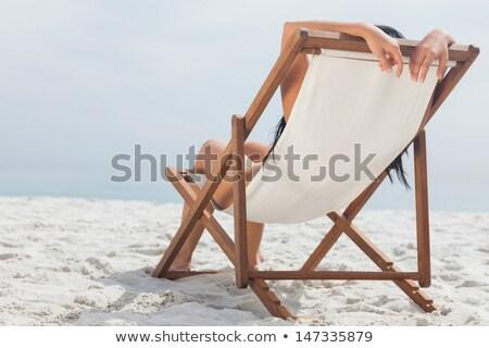 Geschikt brunette dek stoel water lichaam Stockfoto © wavebreak_media