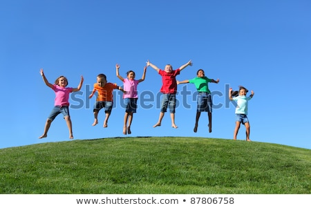 Group of children on hill Stock photo © IS2