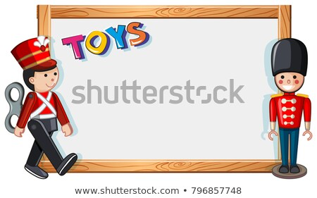 Frame template with two soldier dolls Stock photo © bluering