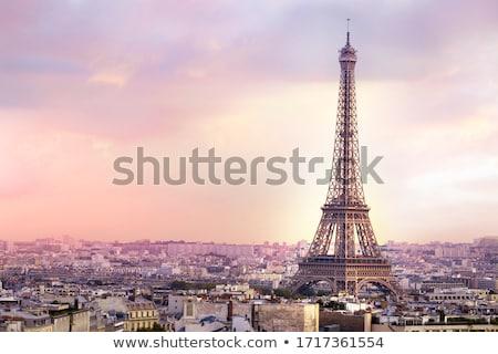 Eiffeltoren · toeristische · poseren · glimlachend · Parijs · Frankrijk - stockfoto © givaga