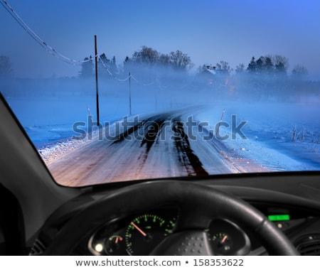 Foggy road through car windscreen Stock photo © IS2