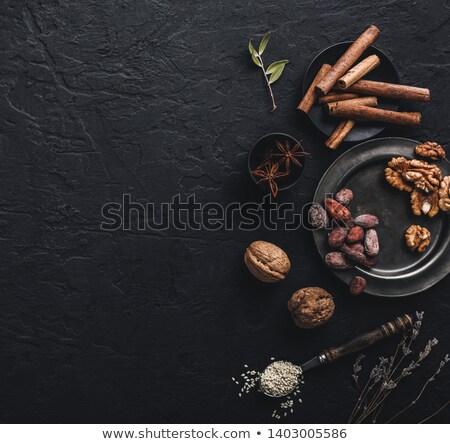 Metal puchar ciemne kamień zdrowa żywność charakter Zdjęcia stock © Valeriy