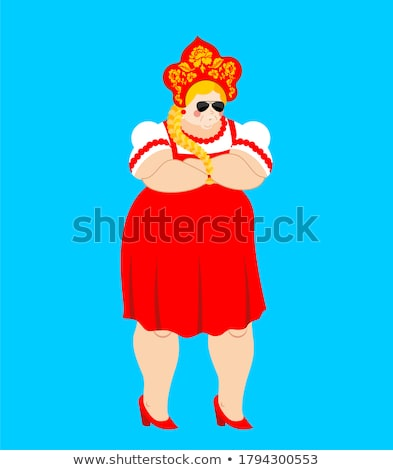 Russia strong. Russian Girl strict. Female serious in national c Stock photo © popaukropa