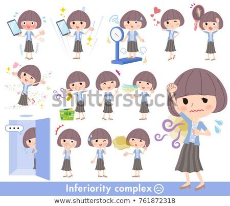 Saç mavi hırka kadın iletişim genç Stok fotoğraf © toyotoyo