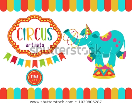 Cartoon elephant with a hula hoop. Stock photo © bennerdesign