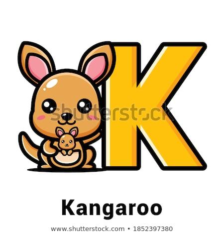 Glimlachend weinig kangoeroe cartoon illustratie glimlach Stockfoto © cthoman