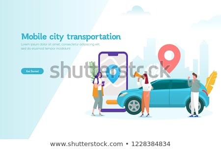 taxi service   modern vector cartoon character illustration stock photo © decorwithme